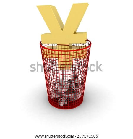 Wasting Money Concept - Gold Yen Symbol in a Bin - stock photo