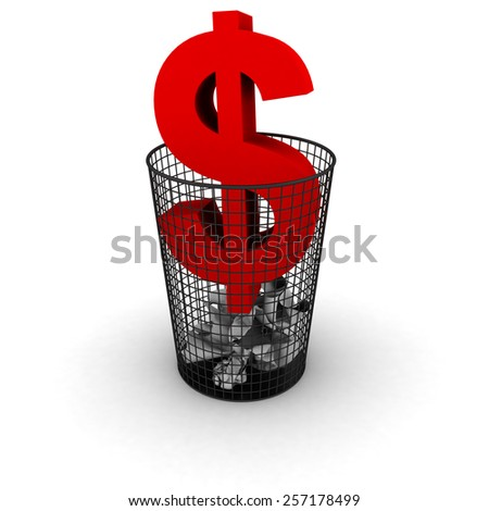 Wasting Money Concept - Red Dollar Symbol in Bin - stock photo