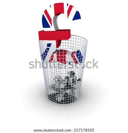 Wasting Money Concept - UK Flag Pound Symbol in Bin - stock photo