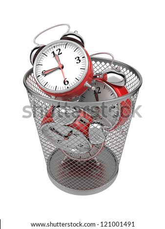 Wasting Time Concept: Red Clocks in Metal Trash Bin. - stock photo