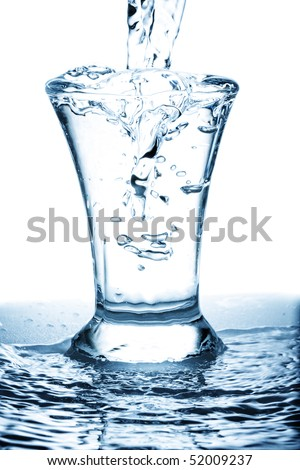 Wasting water leaks into overfilled glass photo against white