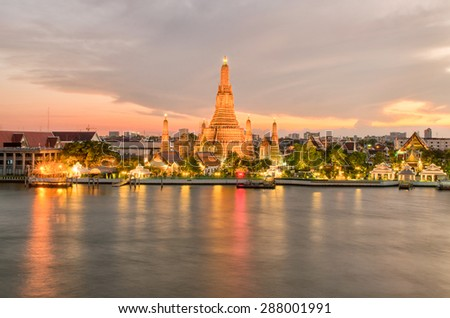Wat Arun in night ,Bangkok city ,Thailand - stock photo