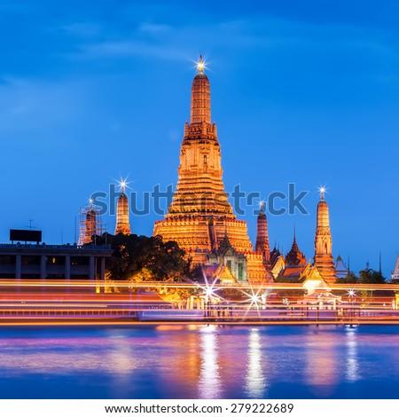 Wat arun in twilight time, Bangkok, Thailand. - stock photo