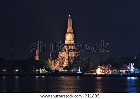 Wat Arun, or Temple of Dawn in Bangkok, Thailand - stock photo