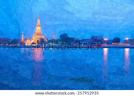 Wat Arun or Temple of Dawn, oil-painting fiter - stock photo