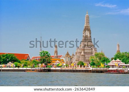 wat arun pagoda landmark of bangkok thailand - stock photo