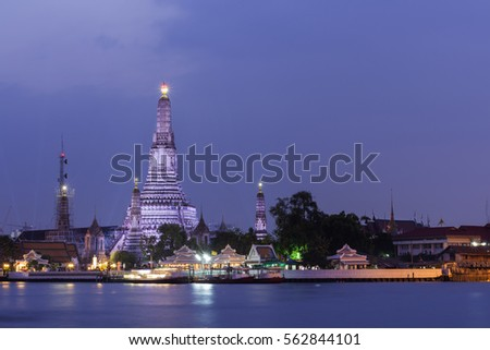 Wat Arun Ratchawararam in bangkok thailand at night