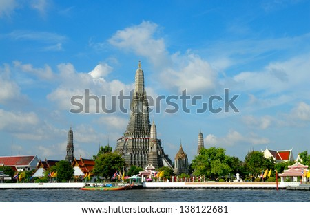 Wat Arun, stands on the Chao Phraya river in Bangkok Thailand - stock photo