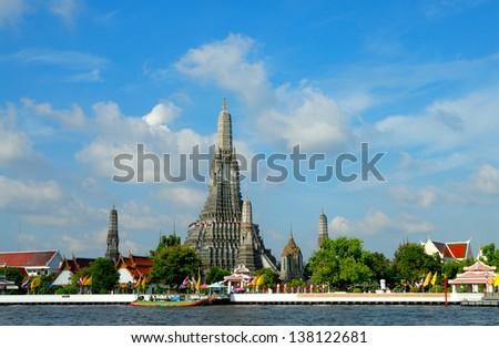 Wat Arun, stands on the Chao Phraya river in Bangkok Thailand - stock photo