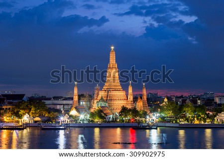 Wat Arun Temple at sunset in bangkok Thailand . - stock photo