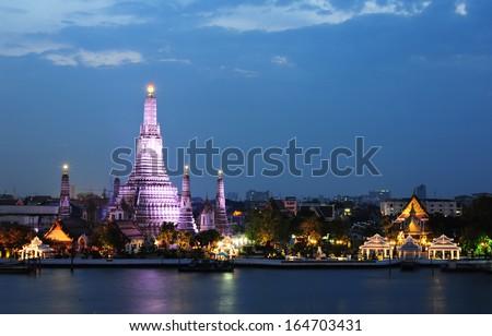 Wat Arun Temple in bangkok thailand - stock photo