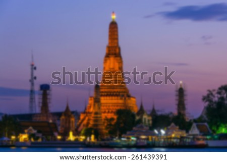 Wat Arun Temple in bangkok thailand ,abstract blurred background - stock photo