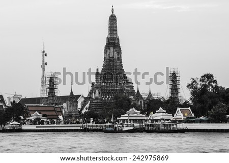 Wat Arun Temple River front in Bangkok City Thailand Update 1-10-2015 - stock photo