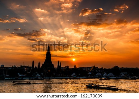 Wat Arun Temple sunset in bangkok asia Thailand  - stock photo