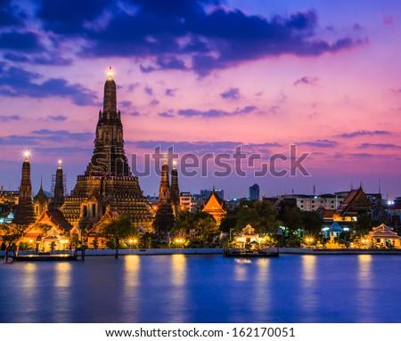 Wat Arun Temple sunset in bangkok asia Thailand  - stock photo