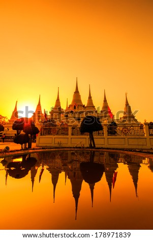 Wat asokaram Temple in Samut Prakan Thailand  - stock photo