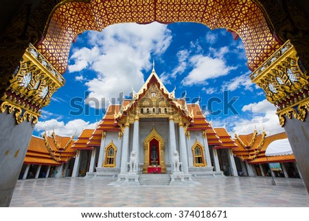 Wat Benchamabophit Dusit Vararam is a Buddhist temple in the Dusit district of Bangkok, Thailand. Also known as the marble temple, it is one of Bangkok's most beautiful temples in Thailand. - stock photo