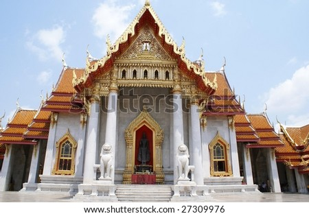 Wat Benchamabophit. The Marble Temple. Magnificent monastery built with Italian marble, Bangkok, Thailand