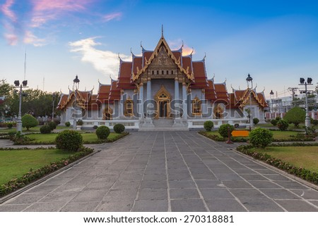 Wat Benjamaborphit or Marble Temple, Traditional Thai architecture, Bangkok - stock photo