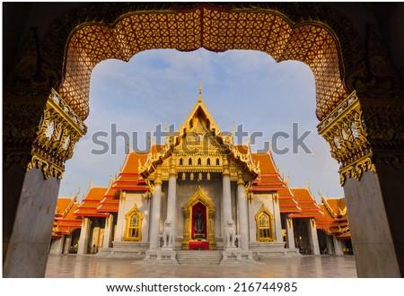 Wat Benjamaborpit, marble temple, Bangkok Thailand - stock photo