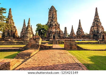 Wat Chai Watthnaram in Ayutthaya, Thailand at early-evening. - stock photo