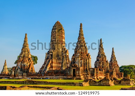 Wat Chai Watthnaram the historic temple in Ayutthaya, Thailand at early-evening. - stock photo