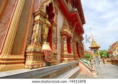 WAT CHAITHARAM or Wat Chalong TEMPLE in Phuket, Thailand - stock photo