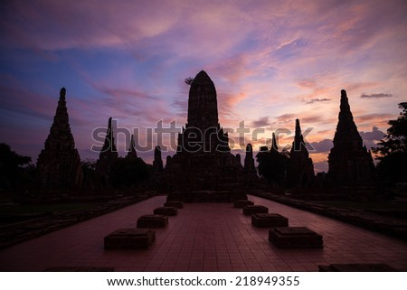 Wat Chaiwattanaram, the historical temple in Ayutthaya, Thailand