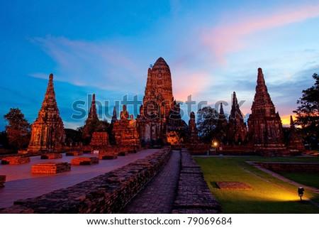 Wat Chaiwattanaram, the historical temple in Ayutthaya, Thailand - stock photo