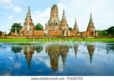 Wat chaiwatthanaram, Ancient temple and monument in Thailand - stock photo