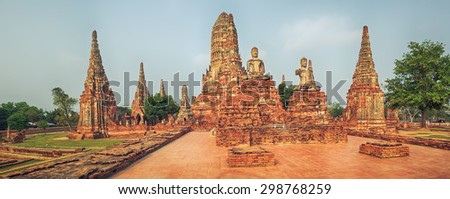 Wat Chaiwatthanaram. Ayutthaya historical park. Panorama - stock photo
