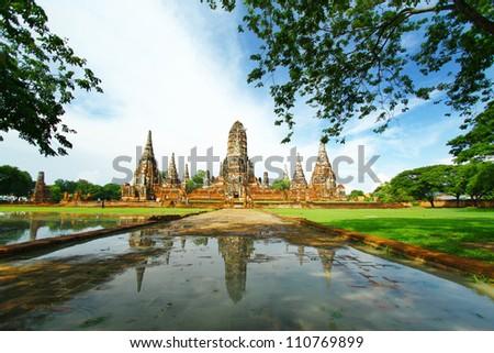 Wat Chaiwatthanaram, old temple Ayutthaya, Thailand. - stock photo