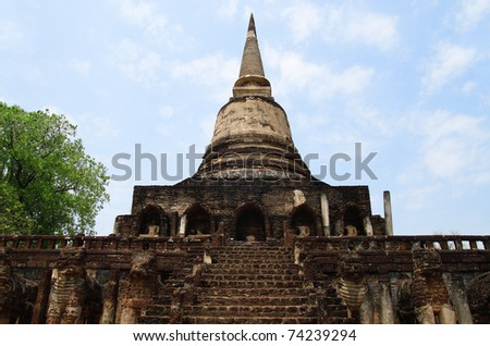 Wat Chang Lom Temple in sukhothai unesco Thailand - stock photo