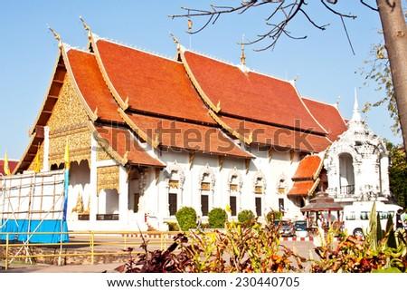 Wat Chedi Luang, buddhist temple in Chiangmai, Thailand - stock photo