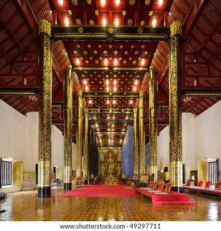 Wat Chedi Luang temple in Chiang Mai, Thailand - Interior - stock photo