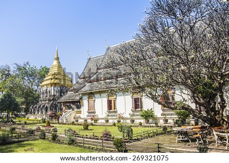 Wat Chiang man, an ancient buddhist temple at Chiang Mai, Thailand. In the background is the famous stupa. - stock photo