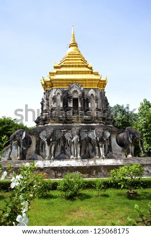 Wat Chiang Man temple in Chiang Mai, Thailand. - stock photo