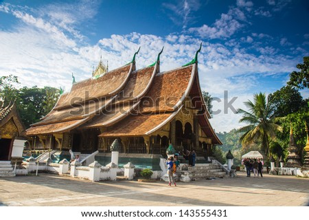 Wat Chiang Thong, Luang Prabang, Laos  is temple most important of Luang prabang - stock photo