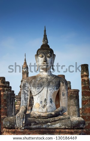 Wat Mahathat in Sukhothai Historical Park (Thailand) - stock photo