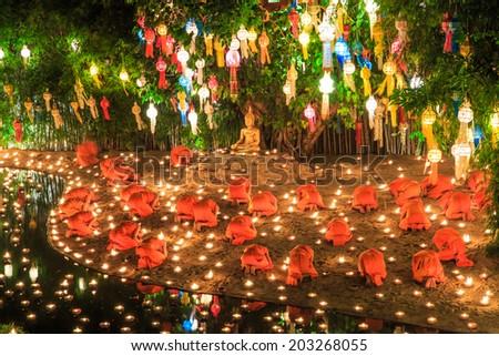 Wat Phan Tao temple chiang mai Thailand  - stock photo