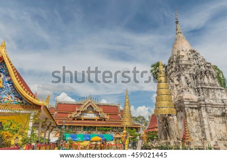 Wat Phathatpon temple,Sawanaket province, Lao PDR., on July 20, 2016.( By soft blurred and soft focus ).