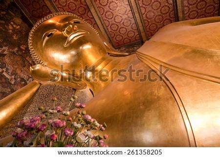 Wat Pho, image of reclining Buddha, Bangkok - stock photo