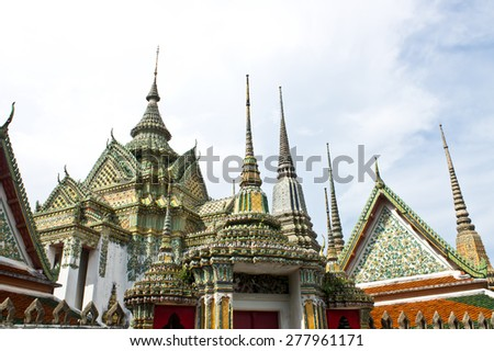 Wat Pho or Wat Phra Chetuphon, the Temple of the Reclining Buddha. In Thailand public domain or treasure of Buddhism. no copyright, no name of artist appear. - stock photo