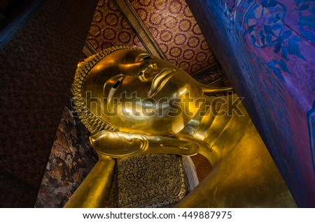 WAT PHO TEMPLE BANGKOK THAILAND, OCTOBER 21 : The reclining Buddha at Wat Pho in Bangkok, Thailand. Largest reclining Buddha in the world. On October 21,2014.