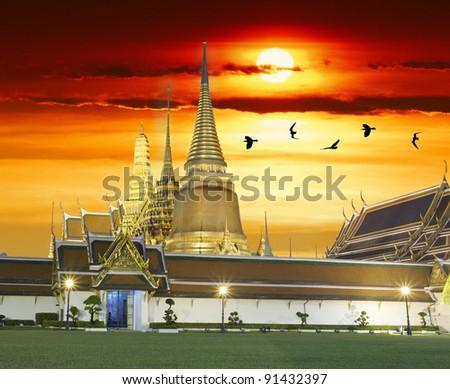 Wat phra kaeo bangkok Thailand - stock photo