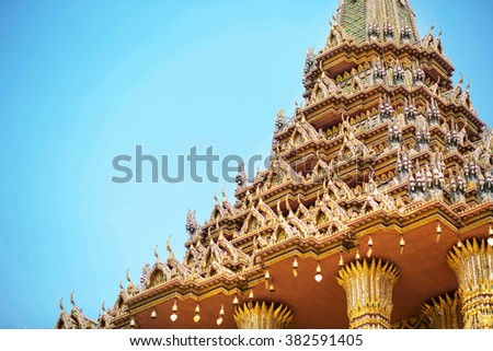 Wat Phra Kaeo - Emerald Buddha Temple in Grand Palace, Bangkok, Thailand. Image with selective focus - stock photo