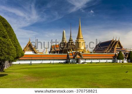Wat Phra Kaeo, Temple of the Emerald Buddha. Bangkok. Thailand. - stock photo