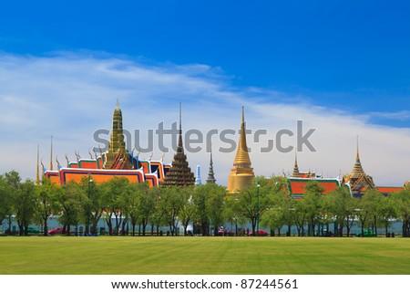 Wat phra kaew, Grand palace, Bangkok, Thailand (view from new grass field) - stock photo