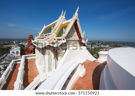 Wat Phra Kaew in Khao Wang, aka Phra Nakhon Khiri Historical Park, in Phetchaburi, Thailand. Here is summer place of King Rama IV and King Rama V. - stock photo
