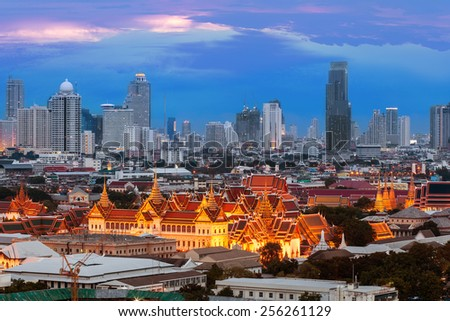 Wat Phra Kaew Royal Palace in Bangkok, Temple of Emerald Buddha (Thailand ) - stock photo